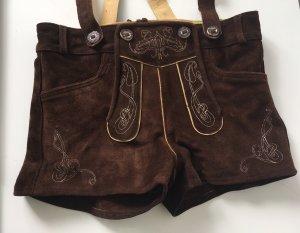 Pantalon traditionnel en cuir brun foncé cuir