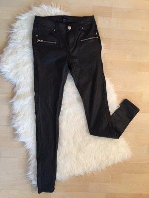 Lederhose Bikerhose beschichtet glänzend Lack Jeans used look schwarz