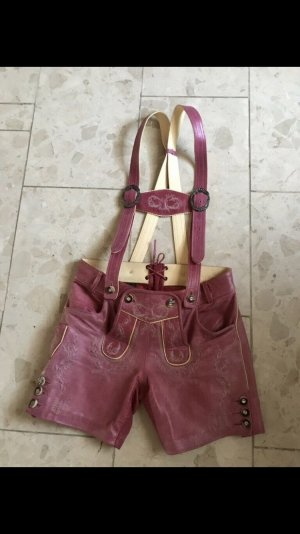 Pantalon traditionnel en cuir rose