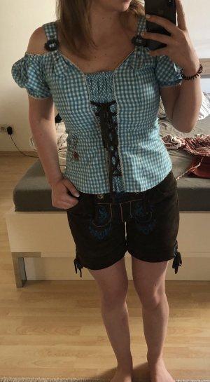Stockerpoint Pantalón de cuero tradicional azul claro-marrón