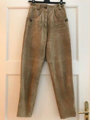 MarJo Pantalone in pelle color cammello-beige Scamosciato