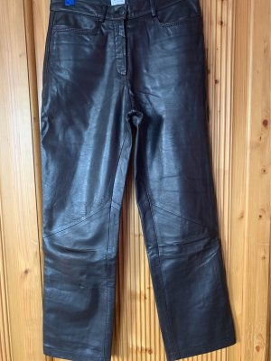 Armani Collezioni Leather Trousers dark brown