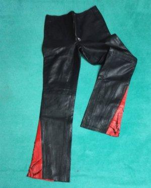 Pantalón de cuero negro-rojo