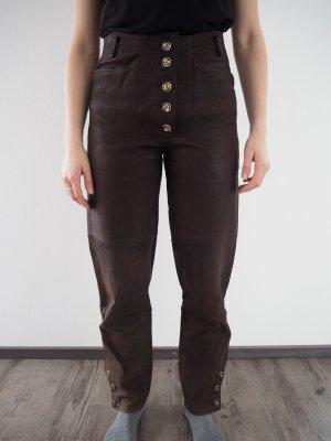 Pantalone in pelle tradizionale marrone scuro Pelle