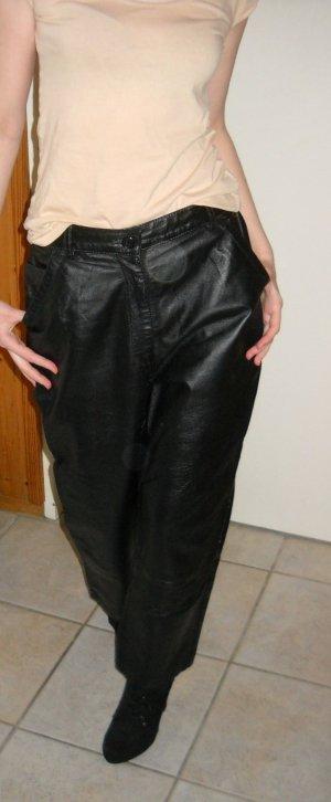Lederhose lang Hose Nappaleder echtes Leder glatt schwarz 38 40 S H M