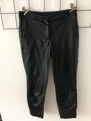 Massimo Dutti Leren broek zwart