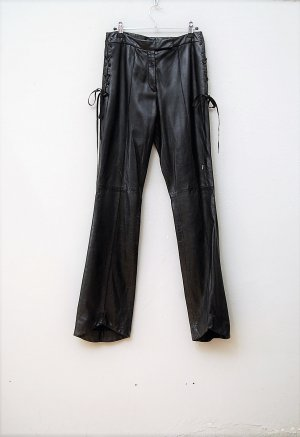 Galliano Pantalone in pelle nero Pelle