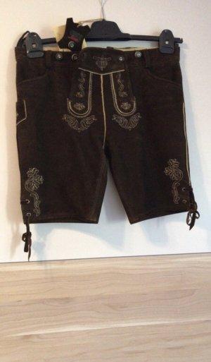 Country Line Pantalon traditionnel en cuir brun foncé cuir