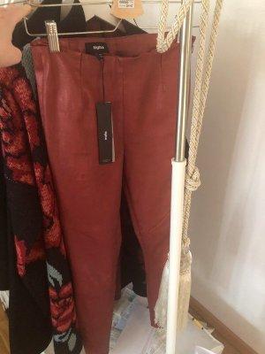 Tigha Pantalone in pelle rosso neon