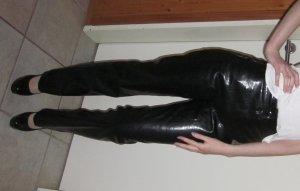 Lederhose Orsay Hose Leder schwarz lang gerades Bein Bund High Waist 34 36 XS S