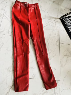 Noisy May Leather Trousers red leather