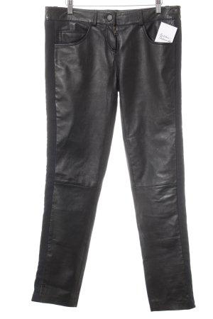 Pantalón de cuero negro Estilo ciclista