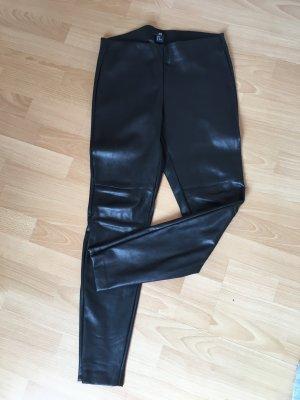 Lederhose schwarz H&M 38 S Reisverschluss Gummibund Kunstleder