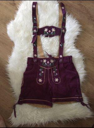Pantalone in pelle tradizionale viola scuro