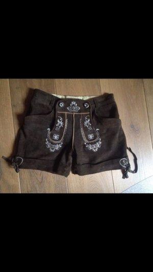 Stockerpoint Pantalón de cuero tradicional marrón oscuro-blanco puro