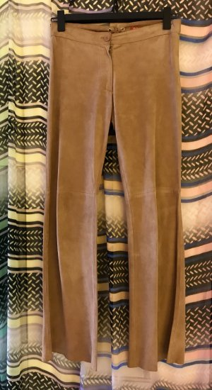 Replay Leather Trousers camel suede