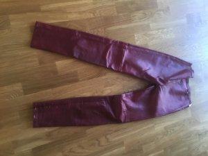Strenesse Pantalone carminio-rosso scuro Pelle