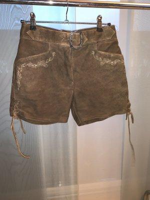 Lekra Pantalón de cuero tradicional marrón-color plata