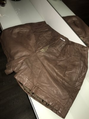 Yaya Leather Trousers bronze-colored