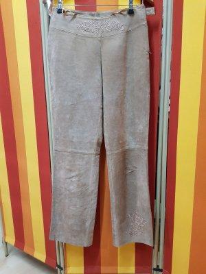 Pantalón de cuero beige claro-crema
