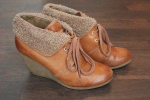Lederimitat Ankle Boots Keilabsatz