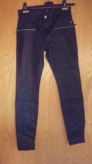 Amisu Pantalon taille haute noir faux cuir