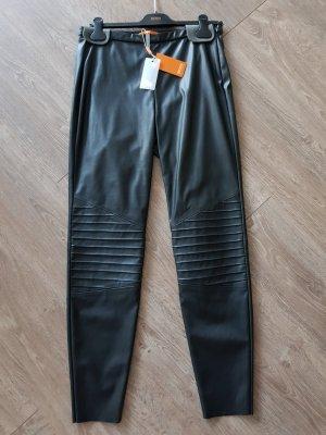 Boss Orange Leather Trousers black