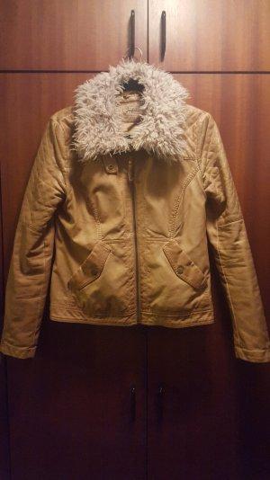 Lederimitat Jacket mit Fakefur Kragen