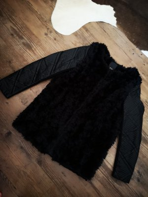 Lederimitat Mantel mit Fake Fur