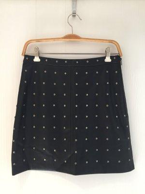 Zara Basic Falda de cuero de imitación negro Imitación de cuero