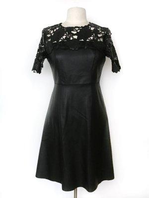 Lederimitat Spitzen Kleid