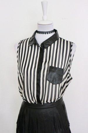 Lederen blouse zwart-wit