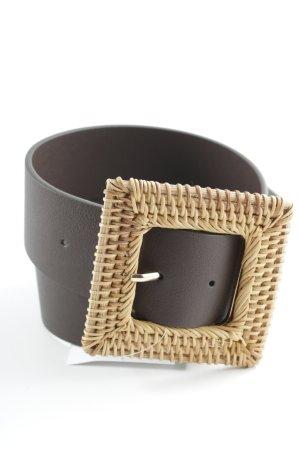 Lederimitatgürtel dunkelbraun-beige Casual-Look