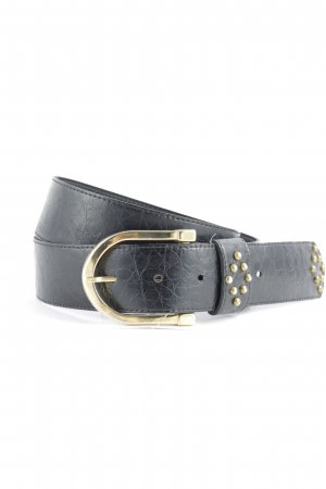 Ceinture en similicuir noir-doré motif animal style simple