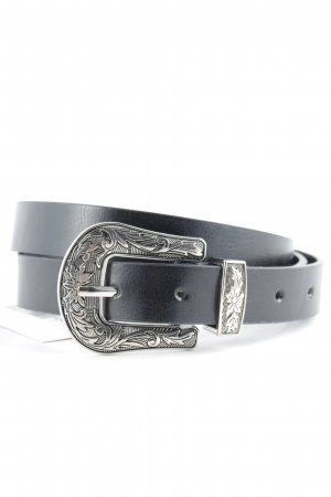 Faux Leather Belt black-silver-colored floral pattern street-fashion look