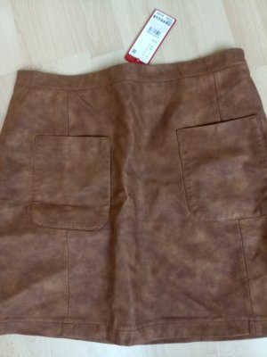 1 NY tee Faux Leather Skirt light brown viscose