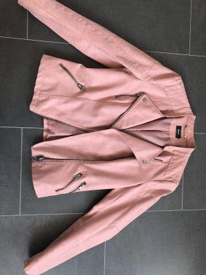 Only Chaqueta de cuero de imitación rosa empolvado