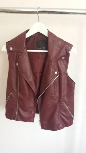 Amisu Leather Vest bordeaux imitation leather