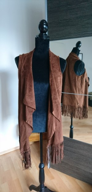 Jette Joop Fringed Vest cognac-coloured