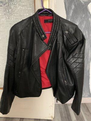 Zara Veste en cuir synthétique noir-rouge foncé