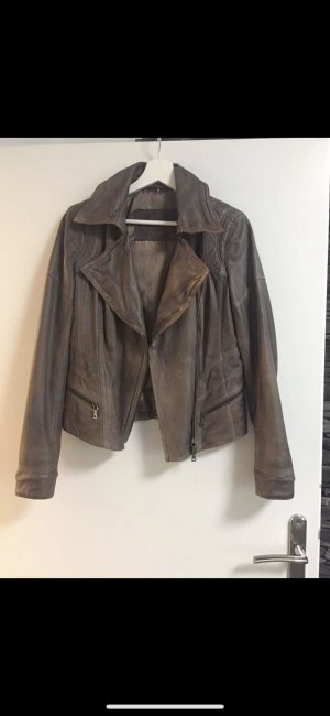 Crisca Leather Jacket grey brown