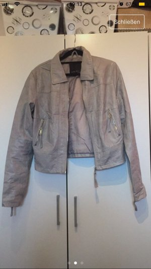 Faux Leather Jacket silver-colored