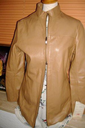 Lederjacke beige mit Zipper