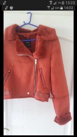 Bershka Fake Fur Jacket salmon-red