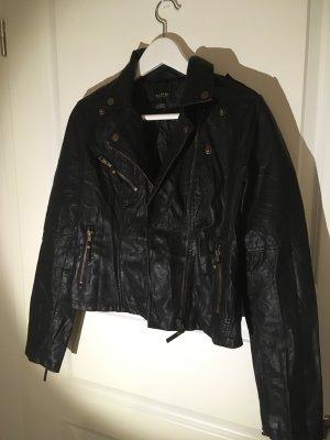 Lederjacke / biker jacke in schwarz mit Gold Knöpfen