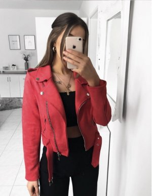 Bershka Biker Jacket raspberry-red