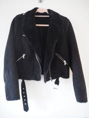 Lederjacke Bikerjacke Kunstfell Fake Fur Zara