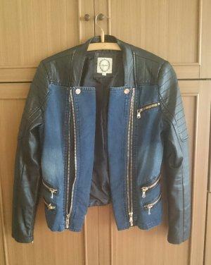 Lederjacke Bikerjacke Kunstleder Jeans schwarz blau