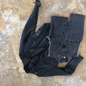 HM Leather Jacket black-grey