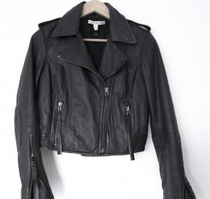 Lederjacke, Black grady cropped leather jacket, Twenty8Twelve